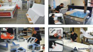quy trình sản xuất chữ nổi inox , đồng, mica ...