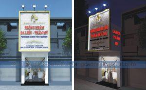 biển quảng cáo nền hoa văn chữ nổi