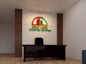 logo backdrop thi công cho doanh nghiệp Gold Land tại Thanh Xuân