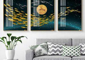 tranh canvas hiện đại rất phù hợp với không gian phòng khách